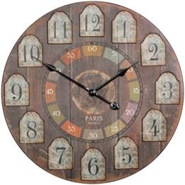 WOHNLING Deko Vintage Wanduhr XXL Ø 60 cm France Holz bunt | Große Uhr rustikal Dekouhr rund | Design Retro Küchenuhr für Küche & Wohnzimmer - 1