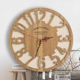 YHJ Wanduhr Idyllische kreative Uhr aus Holz einfache Mode Wanduhr Massivholz stumm Uhr große Wanduhr Kunst - 1