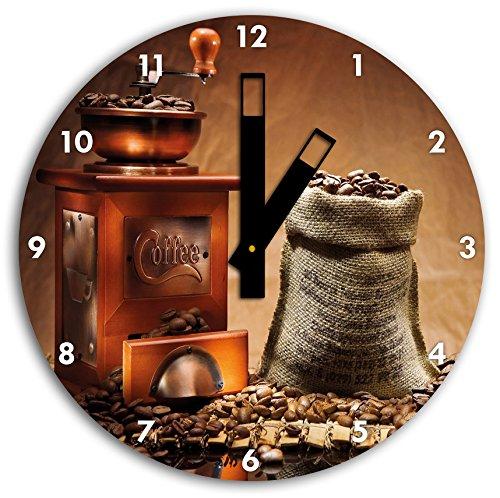 alte kaffeem hle bild auf wanduhr mit schwarzen stumpfen. Black Bedroom Furniture Sets. Home Design Ideas