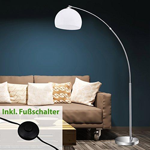 briloner leuchten stehlampe stehleuchte bogenleuchte metall e27 chrom wei 168 x 124 4 x. Black Bedroom Furniture Sets. Home Design Ideas