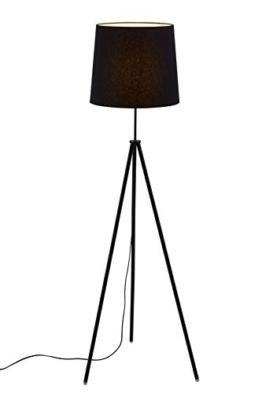 Briloner Leuchten Stehlampe, Wohnzimmerlampe Lampenschirm, Inkl. Schnurschalter, E27, Höhe: 139.5 cm, Metall, Schwarz, 60 x 60 x 139.5 cm - 1