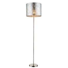Design Steh Leuchte Stoff Decken Fluter Lese Stand Lampe silber glänzend Globo 15188S - 1