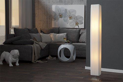 Design Stehlampe Paris Weiss 120 Cm Stehleuchte Mit Chrom Fuss