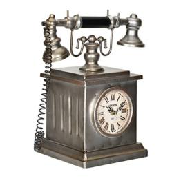 [en.casa]® Dekorative Standuhr altes Telefon Design mit analoger Anzeige - 35 x 19 x 33 cm - mehrfarbig - 1
