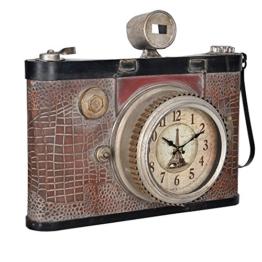 [en.casa]® Dekorative Wanduhr alte Fotokamera Design mit analoger Anzeige - 43 x 14 x 34 cm - mehrfarbig - Glas - 1