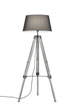Khl LED Stehlampe Standleuchte Studio Stoffschirm Dreifuß grau 143cm 9W E27 KH409911 - 1