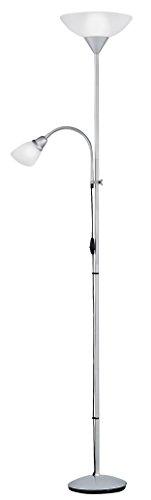 Reality Leuchten R4393-87 Fluter, mit Lesearm, 1x E27 + 1x E14, silberfarben, Schirme in weiß - 1