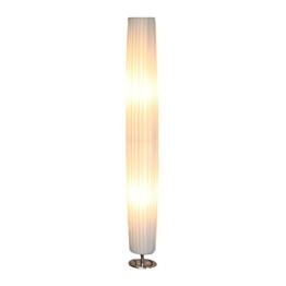 Steh-Lampe weiß mit verchromten Standfuß Höhe 120 cm rund | Sirap | Design Steh-Leuchte mit Plissee Schirm aus pflegeleichtem Latex | Stand-Leuchte für Wohnzimmer 120cm - 1