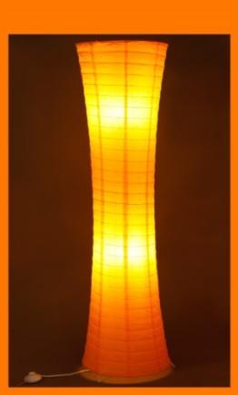 Trango Reispapier Stehleuchte Stehlampe in modernem Design 125 x 35cm (Stehleuchte in orange TG1230) - 1