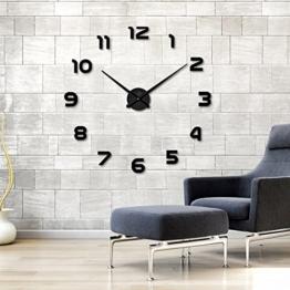Ailier® DIY Wanduhr Moderne Groß Schwarz Schlafzimmer 3D Acryl Spiegel Wall Clock Mirror Surface Stickers Home Decoration Wanduhren (Durchmesser:70-100 cm, M015-Silber) (Silber-015, M) (Schwarz-L-002) - 1
