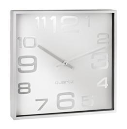 Alco 187-10 Wanduhr, ca. 28,3 x 28,3 x 4,1 cm, silber weiß - 1