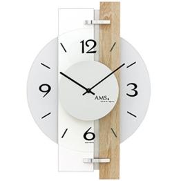 AMS 9557, aktuelles Wanduhren-Design mit Gehäuse aus Sonoma-Eiche - Aluminium-Applikationen und Glas-Elementen, Designer Wohnzimmeruhr modern, Wanduhr geräuscharm für Büros und Geschäfte - 1