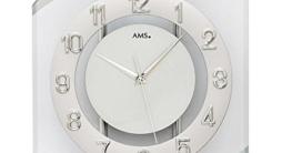 AMS. design Funkuhr, geschwungene Funk-Wanduhr in Silber und Weiß mit Glas, analoge Zeitanzeige - Wohnzimmeruhr modern - 1