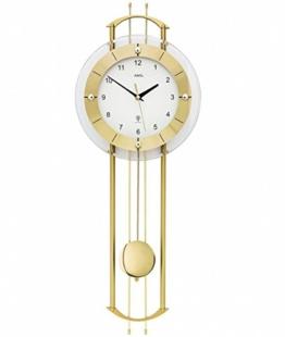 AMS. design Pendel-Wanduhr (Funkuhr), modern mit Mineralglas und Metall, golden - 1