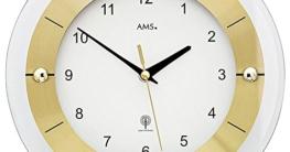 AMS. design Pendel-Wanduhr (Funkuhr), modern mit Mineralglas und Metall, golden - 2