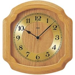 AMS Funk-Wanduhr in klassischer Optik: Küchenuhr oder für Wohnbereiche, analoge Zeitanzeige mit arabischen Ziffern, massives Holz-Gehäuse (Eiche) - 1