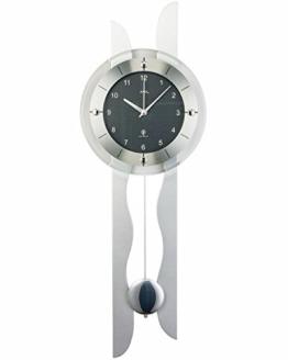 AMS Funk-Wanduhr mit Pendel in einem modernen Design, Farbe Silber: Ziffernblatt in Carbon-Optik, analoge Zeitwiedergabe - 1