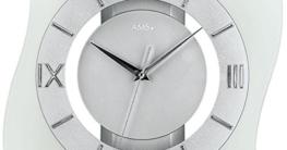 AMS Glas Funk-Wanduhr modern, analoge Designer-Uhr mit römischen Ziffern unter einer Glasfront - moderne Funkuhr mit einer Holzrückwand in Silber lackiert; Sekundenzeiger - 2