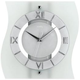 AMS Glas Funk-Wanduhr modern, analoge Designer-Uhr mit römischen Ziffern unter einer Glasfront - moderne Funkuhr mit einer Holzrückwand in Silber lackiert; Sekundenzeiger - 1