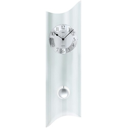 Ams Quartzuhr mit Pendel moderne Pendeluhr Designer Wanduhr satiniertes Glas Neu - 1