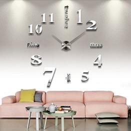 AngelaKerry XXL 3D DIY Moderne Wanduhr Wandtattoo Dekoration Uhr für Zimmerdeko aus Acryl Silbrig - 1