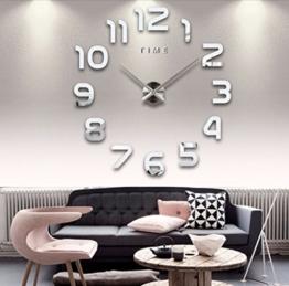 Asvert Wanduhr moderne DIY 3D Frameless große Wand-Taktgeber-Art-Uhren Stunden-Raum-Ausgangsdekorationen,3D Digital Acryl kreativ DIY Wand-Aufkleber Uhr Kunst Wanduhr Silber - 1
