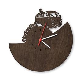 Bulli Wanduhr aus Eichen-Holz geräuchert Made in Germany | Design Uhr aus Echtholz | Wand-Deko aus Eiche | Originelle Wand-Uhr | Moderne Wand-Uhr im Skyline Design | Wand-Dekoration aus Natur-Holz - 1