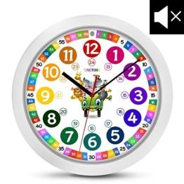 Cander Berlin MNU 1130 Kinderwanduhr (Ø) 30,5 cm Kinder Wanduhr mit lautlosem Uhrenwerk und farbenfrohem Design - Ablesen der Uhrzeit lernen - 1