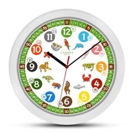 Cander Berlin MNU 1330 Kinderwanduhr (Ø) 30,5 cm Kinder Wanduhr mit lautlosem Uhrenwerk und farbenfrohen Tieren - Ablesen der Uhrzeit lernen - 1