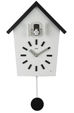 """Cuco Clock Kuckucksuhr """"Bauernhaus"""" mit Pendel Wanduhr Design Uhr modern Pendeluhr Kuckuck Holz Zeit Nachtruhe Chronometer Schwarz STK - 1"""
