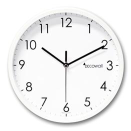 """Decowall DSH-MSBW250 9.8"""" Nicht-tickende Stille Metall Modern Wanduhr DIY für Wohnzimmer Küche Büro (25cm, Weiß) - 1"""