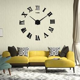 DIY 3D Wanduhren Modern Design Acryl Wanduhren Wandtattoo Dekoration fürs Wohnzimmer Kinderzimmer (Römische Nummer Schwarz) - 1
