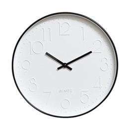 Dobess 12 Zoll Modern Quartz Lautlos Wanduhr Schleichende Sekunde ohne Ticken ( Schwarz ) - 1