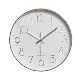 Dobess 12 Zoll Modern Quartz Lautlos Wanduhr Schleichende Sekunde ohne Ticken ( Silber ) - 1