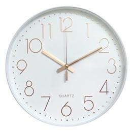 Dobess 12 Zoll Modern Quartz Lautlos Wanduhr Schleichende Sekunde ohne Ticken ( Weiß & Rosegold ) - 1