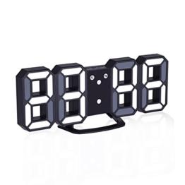 EVILTO- LED Digital-Wecker dimmbar, Digital LED Tisch & Wanduhr Wecker mit einstellbarer Helligkeit Funktion für Schreibtisch Wand Bett (Schwarz-Weiß) - 1