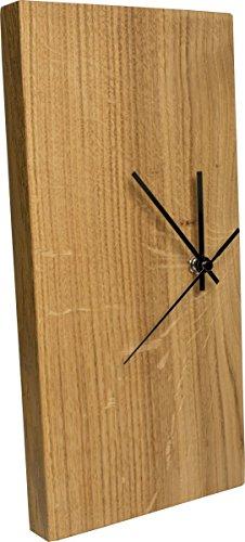 Funk-Wanduhr Eiche Massiv | Echt-Holz Uhr als Standuhr & Tisch-Uhr verwendbar | schlicht & modern - 1