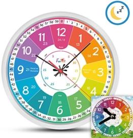 Funtini Kinderuhr-Set lautlos | Wanduhr Ø30cm mit Spielzeug-Lernuhr zum Uhr lesen lernen | Kinderwanduhr groß und bunt für Jungen & Mädchen | Kinderzimmer Uhren-Set ohne Ticken - 1