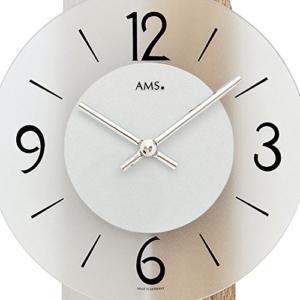 Geräuscharme Pendeluhr von AMS mit Metallpendel und einer Rückwand aus Holz (Sonoma Eiche) und Aluminium, hochwertige Wohnzimmer Wanduhr mit Pendel - arabische Zahlen - 2