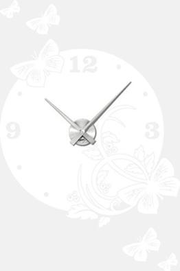 Graz Design 800149_AL_010 Wandtattoo Uhr Wanduhr modern Ornament mit Schmetterlingen Deko fr Wohnzimmer (Uhr Silber gebrstet /Aufkleber Weiss) - 1