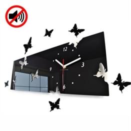 Große moderne Wanduhr Schmetterling Schwarz Querformat 20 x 60 cm, 3d DIY, Wohnzimmer, Schlafzimmer, Kinderzimmer - 1