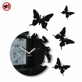 Große moderne Wanduhr Schmetterling Schwarz rund 30cm, 3d DIY, Wohnzimmer, Schlafzimmer, Kinderzimmer - 1