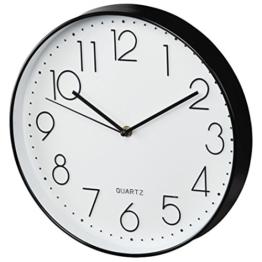 """Hama Wanduhr ohne Tickgeräusche """"Elegance"""" (analoge Quarz-Uhr, geräuscharm) schwarz/weiß - 1"""