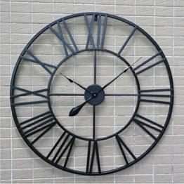 H&M Wanduhren Wanduhr retro schwarz römische Ziffern runde Wand Wanduhr ruhige Uhr Mode einfache Wohnzimmer Küche Restaurant Schlafzimmer Wanduhr -80cm - 1