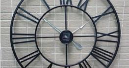 H&M Wanduhren Wanduhr retro schwarz römische Ziffern runde Wand Wanduhr ruhige Uhr Mode einfache Wohnzimmer Küche Restaurant Schlafzimmer Wanduhr -80cm - 5