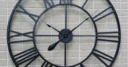 H&M Wanduhren Wanduhr retro schwarz römische Ziffern runde Wand Wanduhr ruhige Uhr Mode einfache Wohnzimmer Küche Restaurant Schlafzimmer Wanduhr -80cm - 6