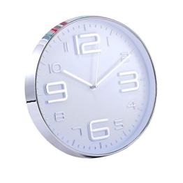 Jinberry Modern Design Lautlos Analog Minimalistisch Rund Wanduhr mit Dünne Uhrrahmen / 12 Zoll (30cm) Groß Elegant Nicht-tickende Quarz Wand Uhr für Wohnzimmer Esszimmer or Küche - Silber (Arabische Ziffern 02) - 1