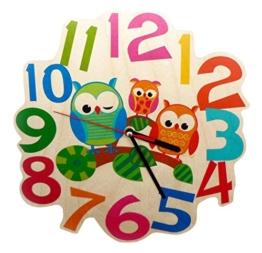 Kinderwanduhr 30001 - Eulen aus Holz, ca. 21 cm - 1
