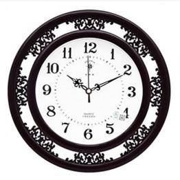 KKLOCK Wanduhr Uhr Wanduhren Lautlos für Wohnzimmer Büro Schlafzimmer Küche Kinderzimmer Mini Einfache AA Batterie Ø35cm Runde Retro Nostalgie mit Ziffern Cartoon Uhren [Enthält keine Batterie] (Schwarz) - 1