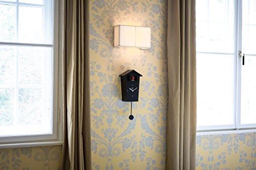 kookoo birdhouse schwarz wanduhr mit 12 nat rlichen v gelstimmen aus der natur oder kuckucksuhr. Black Bedroom Furniture Sets. Home Design Ideas
